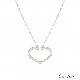 Cartier White Gold Diamond Hearts and Symbols Necklace 0.58ct G+/VS B3040600